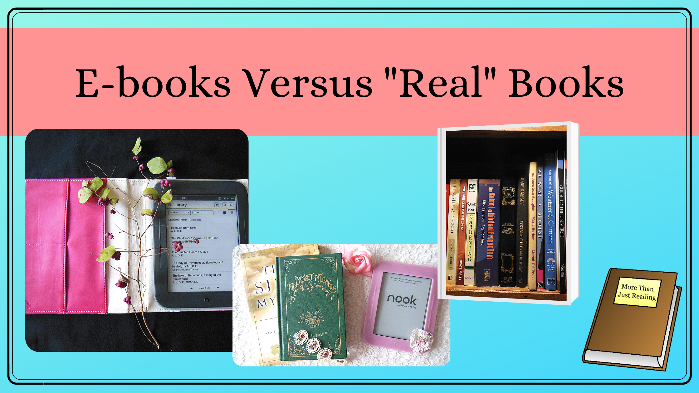 Banner with Blogpost Title and Pictures of E-books and Real Books