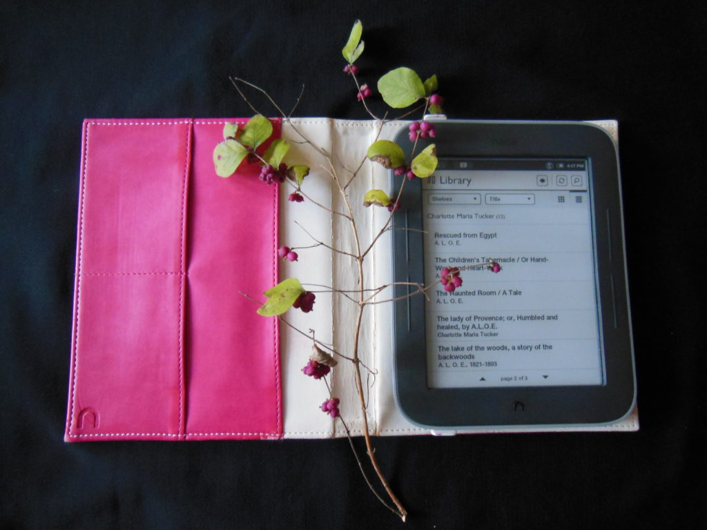 an e-reader with a sprig of leaves and berries on it