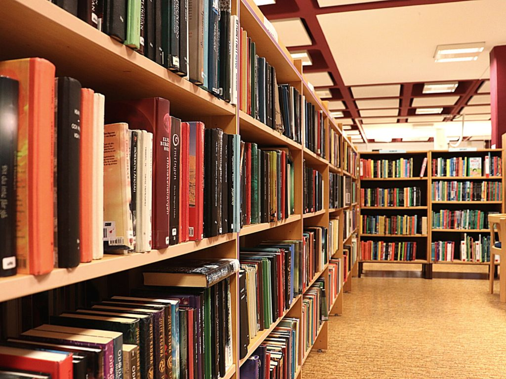 Rows of bookshelves filled with books