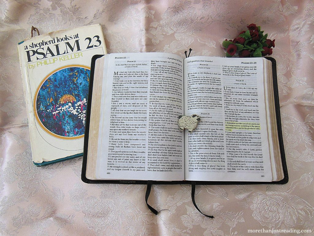A Bible and a copy of A Shepherd Looks At Psalm 23 by Philip Keller