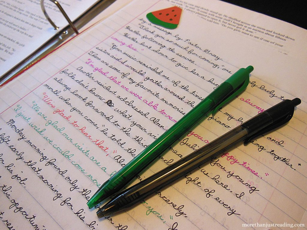 Notebook and colored ink pens   Creative writing
