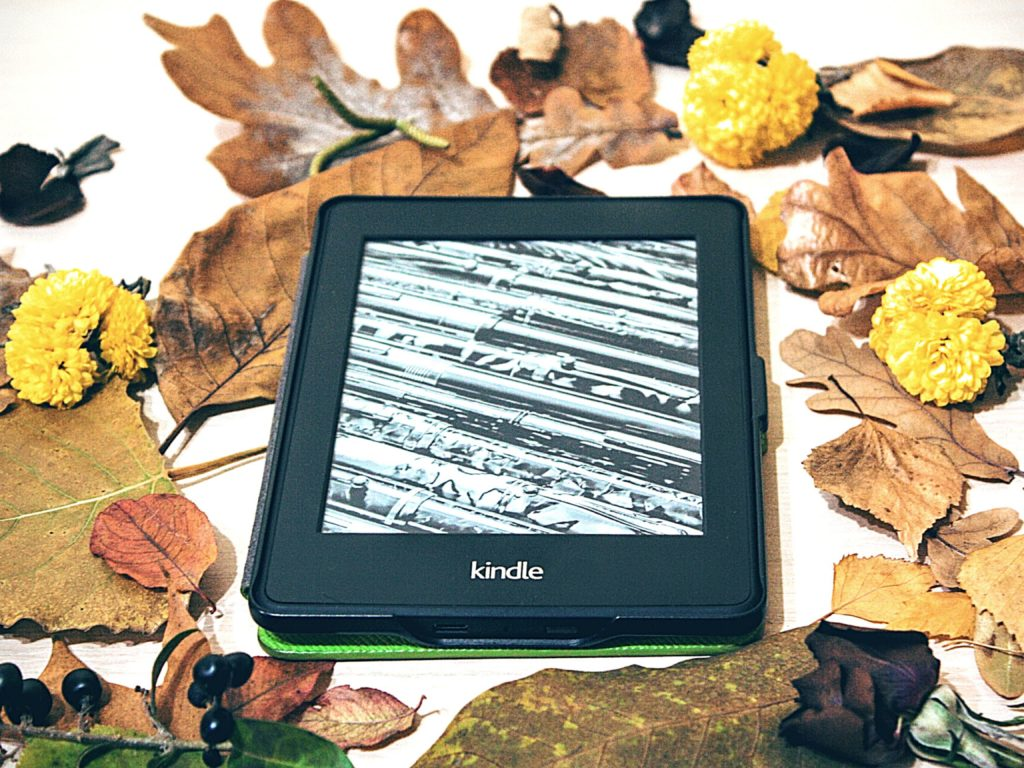 E-reader surrounded by leaves and potpourri | homeschool resources