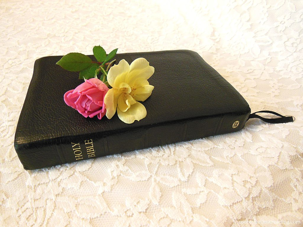 A Bible with roses on it