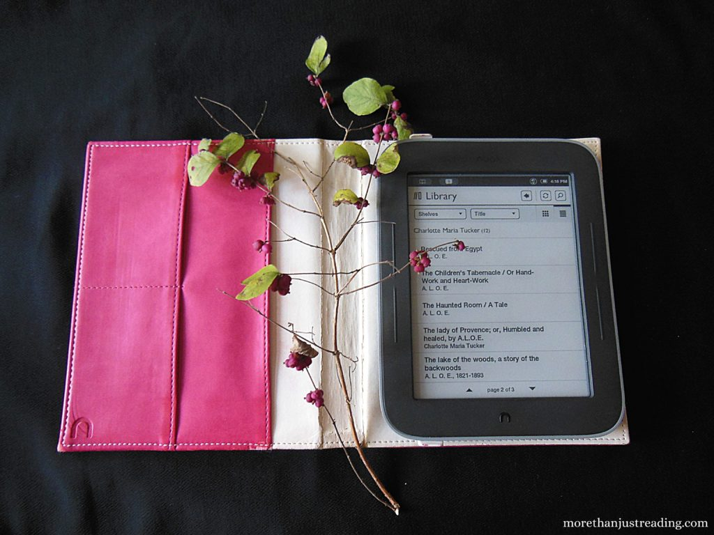 An e-reader with berries