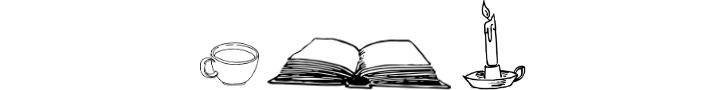 Open book, candle, and coffee mug