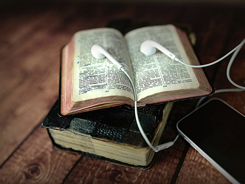 Bible and earbuds | Scripture memory