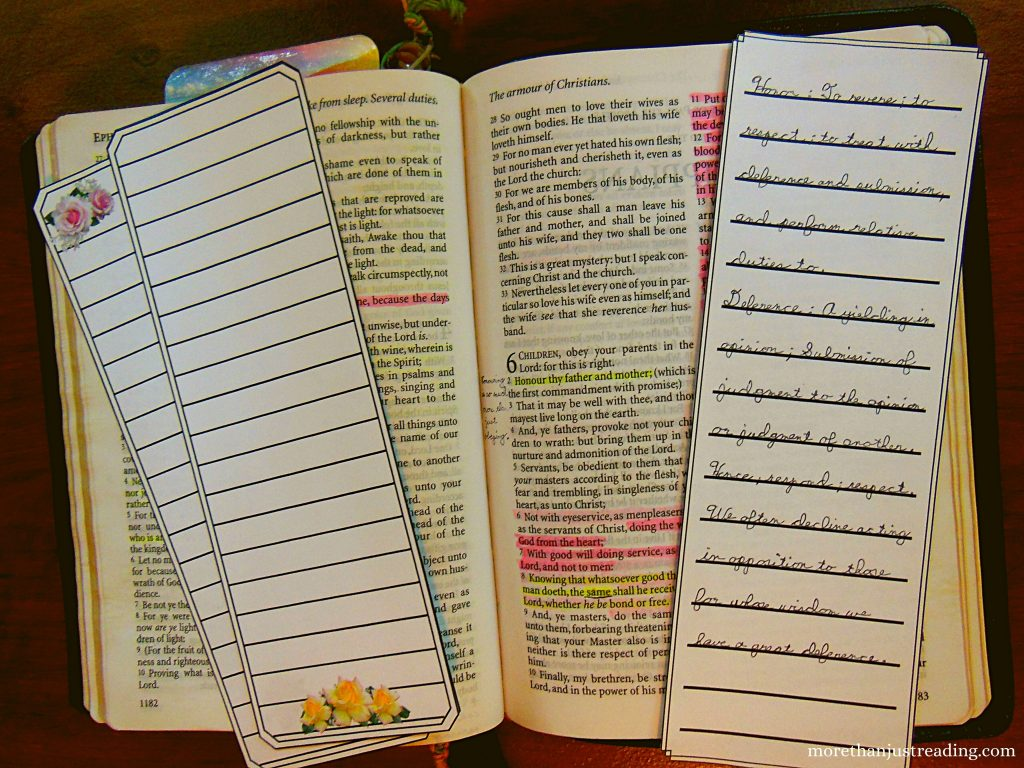 Bible study bookmarks and a Bible