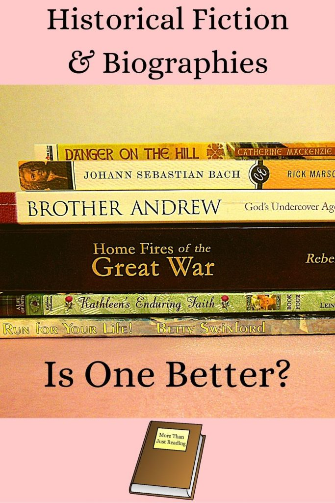 stack of books   historical fiction versus biographies