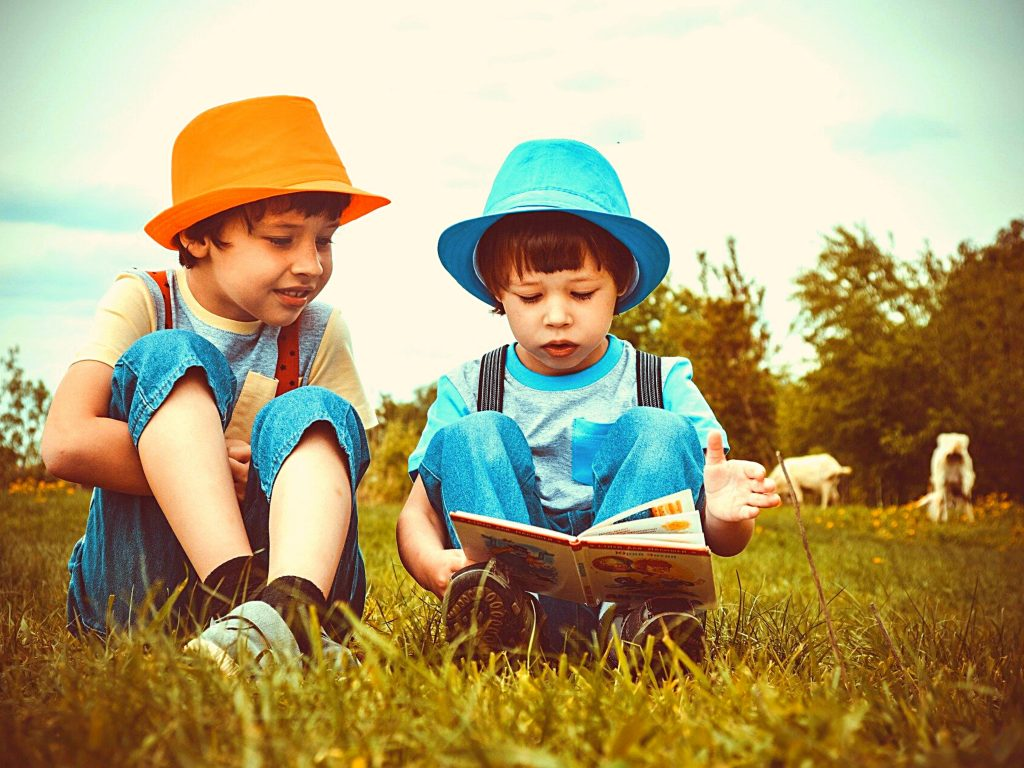 two little boys reading in a pasture   reading strategies for children