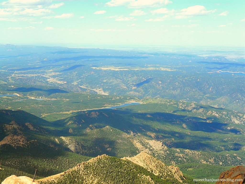 View from Pike's Peak of mountains and lakes