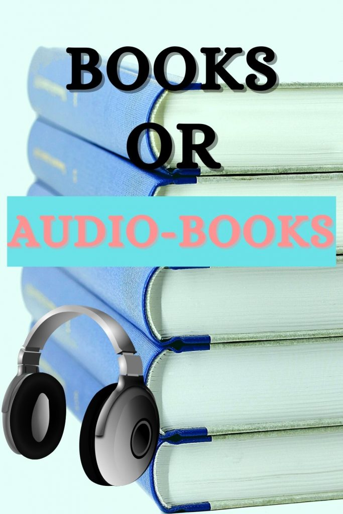 stack of books with headphones leaning against them audiobooks versus reading
